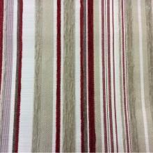 Купить натуральную ткань с набивкой из шенила с добавлением хлопка Clark, col 09. Испания, Европа, портьерная. Вертикальная полоска красного, бежевого, ванильного оттенков