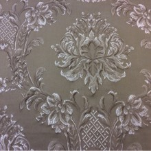 Жаккардовая ткань с рельефным орнаментом Efesos, col 13. Италия, Европа, портьерная. На тёмно-бежевом фоне серебристо-шоколадные «дамаски»