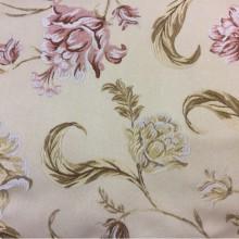Купить ткань с вышивкой из атласа в интернет магазине Fashion, col 103. Италия, Европа, портьерная. На бежевом фоне жёлтые, розовые цветы