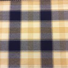 Купить хлопковую ткань с добавлением льна в Москве Favola, col 63. Испания, Европа, портьерная. Орнамент «шотландская клетка» синего, жёлтого, кремового оттенков