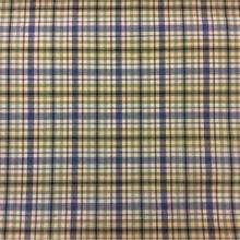 Купить натуральную ткань с добавлением хлопка и льна Dover, col 69. Испания, портьерная ткань. Мелкая «шотландская клетка» голубого, зелёного, кремового оттенков