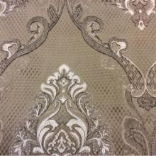 Купить шикарную портьерную ткань для штор в Москве Арт: 1320A, col 3. Италия, Европа. Ажурные золотисто-шоколадные «дамаски» на фоне бронзового оттенка