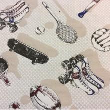 Натуральная ткань с хлопковой нитью и креативным изображением рисунка Cinema, col 30. Испания, Европа, портьерная. Серо-бежевые оттенки, красный, синий цвет ткани