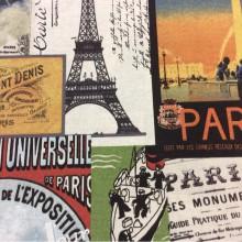 Тефлоновая ткань с хлопковой нитью с изображением Парижа, Эйфелевой башни и креативным изображением рисунка Parisian, col 01. Испания, Европа, портьерная, скатертная ткань