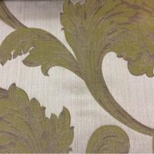 Купить элитную итальянскую ткань в интернет-магазине в Москве Glamour, col 26. Европа, Италия, портьерная. На серебристом фоне завитки оливкового, песочного оттенков