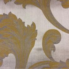 Жаккардовая ткань с добавлением хлопка Glamour, col 35. Италия, Европа, портьерная ткань для штор. На серебристом фоне завитки горчично-серых оттенков