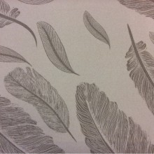 Портьерная натуральная ткань из хлопка с перьями 2507/29. Италия, портьерная ткань для штор. На кремовом фоне перья зеленовато-серого оттенка