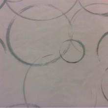 Тонкая тюлевая ткань (нейлон) 2522/53. Нео-модерн, арт-Деко. На прозрачном фоне абстрактные круги зелёного оттенка