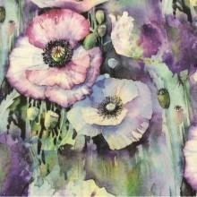 Портьерная натуральная ткань из хлопка и льна 2500/43. Италия, портьерная ткань для штор. Яркие большие цветы (микс)
