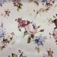 Модная портьерная ткань из атласа Petronella, col 1072. Турция, портьерная ткань. На светлом фоне розовые  розы с незабудками