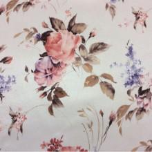 Портьерная ткань из атласа оптом и в розницу в Москве Petronella, col 1070. Турция, портьерная ткань. На светлом фоне разноцветные розы с незабудками