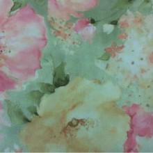 Тюлевая матовая ткань из крепа со склада Claude Suit, col V1. Турция, тонкий тюль. На зелёном фоне яркие цветы, микс