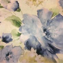 Очень красивая ткань для штор с цветочным рисунком Claude, col V3. Турция, портьерная ткань для штор. На салатовом фоне синие размытые цветы, акварель