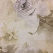 Красивая ткань для детской комнаты Borelli, col 1040. Турция, портьерная ткань «под лен». Крупные цветы в желтовато-зеленоватых оттенках, акварель