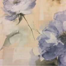 Заказать ткань для римской шторы в интернет-магазине Москвы Borelli, col 1046. Турция, портьерная ткань «под лен». На фоне кремового оттенка крупные голубые цветы, акварель