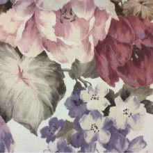Купить ткань для римских штор в Москве Leyster, col 1115. Турция, портьерная ткань «под лён». Крупные цветы с листьями, микс