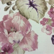 Купить ткань для римской шторы «под лён» Leyster, col 1117. Турция, портьерная. Крупные цветы с листьями, микс