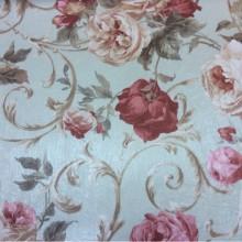 На фоне зеленоватого оттенка яркие цветы, атлас из Турции Latour, col 93. Портьерная ткань