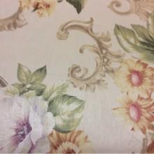 Портьерная ткань из атласа в стиле ампир Joseph, col 1088. Турция, средней плотности. На светлом фоне яркие цветы, микс