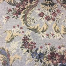 Портьерная ткань с велюровым напылением Fantin, col 1023. Турция 100%полиэстер. На фоне голубоватого оттенка крупный цветочный орнамент, микс