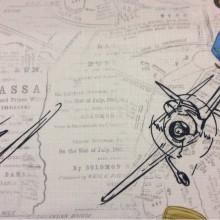 Ткань для детской с самолетиками Airplanes, col V2. Турция, портьерная ткань под лён. На светлом фоне газетный шрифт и самолётики