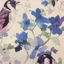 Портьерная ткань «под лён» с крупным рисунком Almanzo, col V3. Турция. На светлом фоне разноцветные птицы, акварель