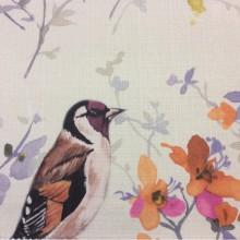 Портьерная ткань «под лён» с птицами, на светлом фоне, акварель Aimanzo, col V1. Турция, портьерная ткань для штор
