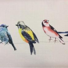 Купить ткань с разными разноцветными птицами Medland, col V1. Турция, портьерная ткань для штор под лен. Акварель