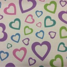 Купить ткань для детской девочки с сердечками Lovely, col V1. Турция, портьерная ткань под лен.