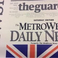 Купить непрозрачную светонепроницаемую ткань blackout в Москве Daily News, Col V1. Турция, ткань в стиле поп-арт. Газетная тематика, микс
