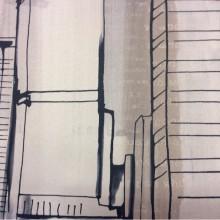 Купить светонепроницаемую ткань блэкаут в Москве Buildings, col 1003. Турция, портьерная. Небоскребы, абстракция, в чёрно-бежевых оттенках