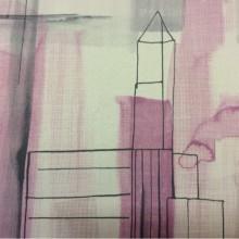 Купить ткань блэкаут в Москве Buildings, col 1005. Турция, Стилизованное изображение домов, абстракция, в бежево-серо-розовых оттенках