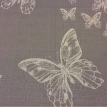 Купить ткань с бабочками, на сером фоне бабочки ванильного оттенка Angela, col V1. Турция, портьерная ткань под лён.