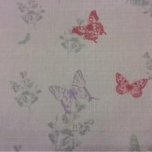 Портьерная ткань «под лён» Mariposa, col V1. Турция, портьерная ткань для штор. На светлом фоне разноцветные бабочки