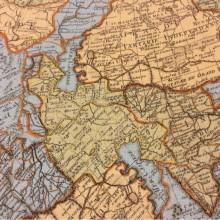 Купить ткань с старинной картой мира Piri Reis, col 1003. Турция, портьерная ткань «под лён». Изображение карты в голубых, жёлтых и зеленоватых оттенках