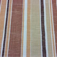 Портьерная ткань «под лён» в интернете Earth Stripe, col 1087. Турция, чередование вертикальных полос в терракотово-жёлтых тонах