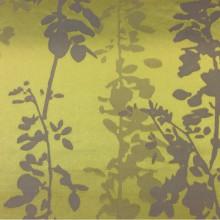 Рельефная атласная ткань с выпуклым эффектом с добавлением хлопка Арт: 2523/92. Итальянский каталог портьерной ткани. Вертикальные ветви и листья в горчичных и серо-фиолетовых оттенках