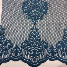 Кружевная ткань для штор Julyetta 1147,  col 701. Турецкий каталог ткани, тюль. Ажурная сетка с кружевными «дамасками» тёмно-синего оттенка