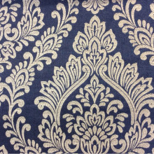 Ткань с вискозой, на синем фоне бежевые «дамаски» Lolly, col Marine. Бельгийский каталог ткани, портьерная ткань в стиле ампир, классика