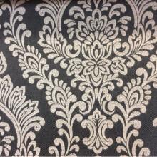Ткань с вискозной нитью в классическом стиле Lolly, col Onyx. Бельгийский каталог ткани для штор, портьерная. На чёрном (меланж) фоне светло-серые «дамаски»