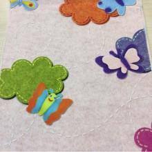 Красивая ткань из хлопка с детской тематикой Twister Iris B, col Rosa 25. Испанский каталог ткани для детской, игровой комнаты ребенка. Мотыльки, цветы ( микс)