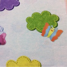 Купить ткань для детской комнаты ребенка Twister Iris B, col Turquesa 98. Испанский каталог детской ткани. Мотыльки, цветы ( микс)