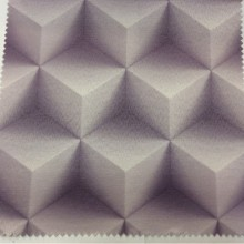 Заказать 3D ткань в Москве Geometric, col 46. Испанский каталог ткани для штор. Объёмный геометрический рисунок сиреневого оттенка (аметист)