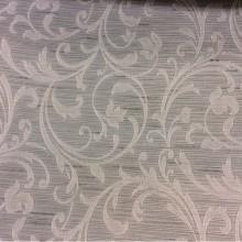 Жаккардовая портьерная ткань сизо-серого оттенка с растительным рисунком бледно-розового цвета, Top Milana, col 120, Бельгийский каталог жаккардовой портьерной ткани для штор на заказ.