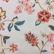 Купить красивую ткань из хлопка с ярким орнаментом в стиле пейсли Москва Azov Pik, des: Camberley C, col 95 coral, Испанский каталог ткани для штор.