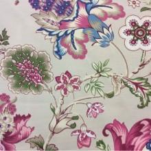 Заказать красивую ткань из хлопка с ярким растительным орнаментом в стиле пейсли Azov Pik, des: Camberley A, col: 25 Rosa, Испанский каталог ткани.