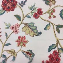 Тонкая тюлевая ткань с ярким красивым цветочным рисунком в стиле пейсли на заказ в интернет-магазине Bering Pik, des: Camberley D, col 95 coral, Испанский каталог тюлевой ткани.