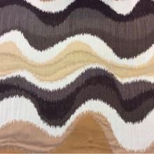 Рельефная портьерная ткань в восточном стиле с вискозной нитью на заказ в интернет-магазине, Гибкие абстрактные линии в бежевых, карамельных и шоколадных оттенках,Высота 3 метра, Samarkand, col 13, Италия.