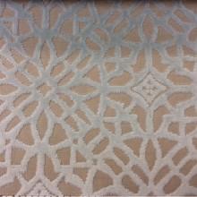 Заказать бархат с набивкой на хлопковой основе в интернет-магазине, на бежевом фоне стилизованные узоры мятного цвета, 2558/73, Итальянский каталог портьерной ткани.