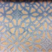 Бархат с набивкой на хлопковой основе, на бежевом фоне стилизованные узоры голубого оттенка, 2558/71, Страна-производитель: Италия, итальянский каталог ткани для штор на заказ.